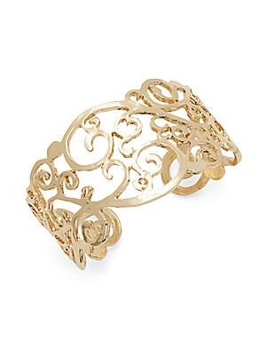 14K Gold-Plated Detailed Filigree Cuff Bracelet