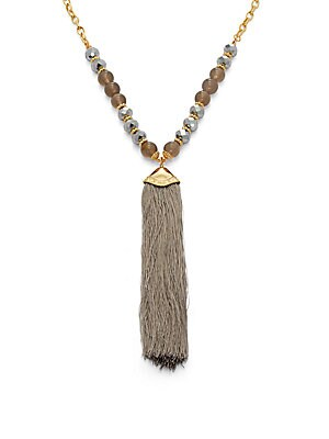 Beaded Tassel Trim Pendant Necklace- 22in