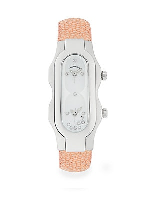 Signature Mini Stainless Steel Diamond Accented Stingray Strap Watch