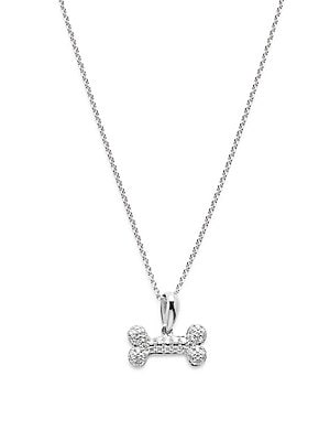 Click here for Diamond & 14K White Gold Dog Bone Pendant Necklace prices