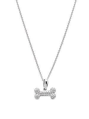 Diamond & 14K White Gold Dog Bone Pendant Necklace
