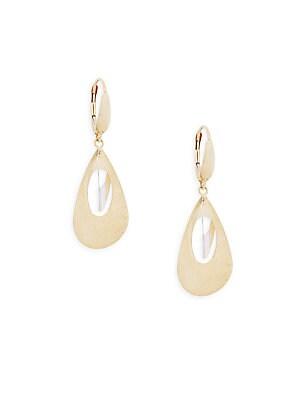 14K Gold Two-Tone Drop Earrings