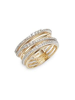 Diamond, 14K White Gold & Yellow Gold Ring