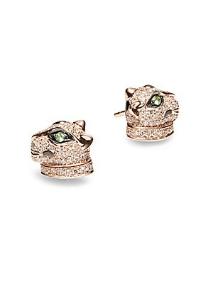 Diamonds & 14K Rose Gold Stud Earrings