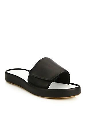Colorblock Leather Slide Sandals