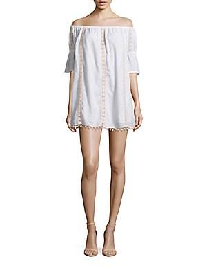 Sara Embroidered Off-The-Shoulder Shift Dress