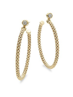 Diamonds & 18K Yellow Gold Hoop Earrings
