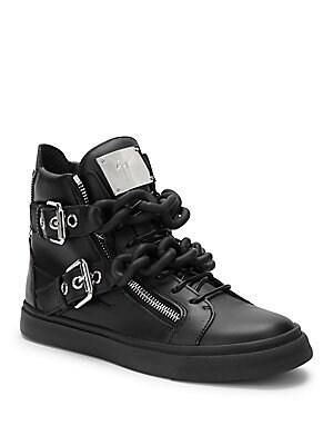 Birel Nero Leather Chain Sneakers