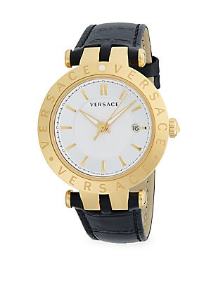 Medusa Goldtone Stainless Steel Bracelet Watch