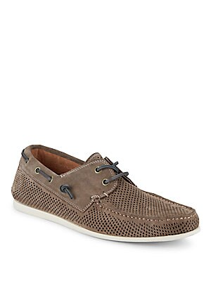 Schooner Perforated Suede Boat Shoes