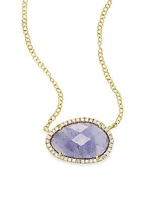 Diamond, Tanzanite & 18K Yellow Gold Pendant Neck