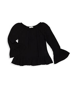Girl's Solid Ruffled Top