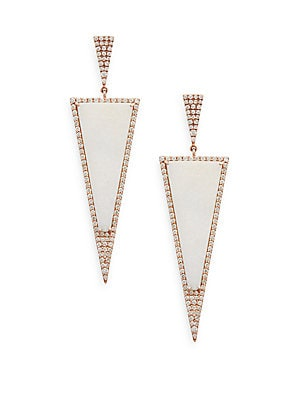 Diamond & Druzy 14K Rose Gold Triangle Drop Earrings