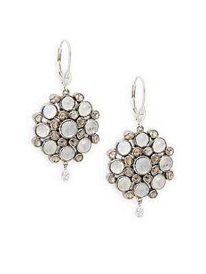 Diamond, Moonstone, 14K White Gold & Silver Earrings