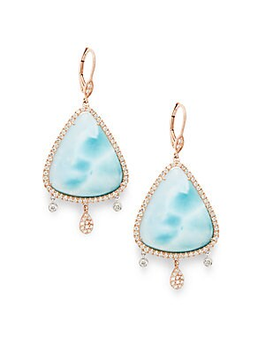 Larimar, Diamond & 18K Rose Gold Earrings