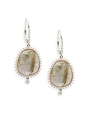 Diamond, Labradorite 18K Rose & White Gold Earrings