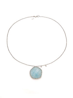 Click here for Milky Aquamarine  14K White Gold & Silver Pendant... prices