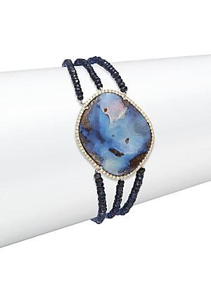 Boulder Opal, Blue Sapphire & Diamonds Bear Bracelet