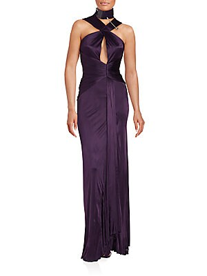 Crisscross Ruched Gown