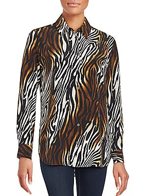 Reese Animal-Print Silk Blouse