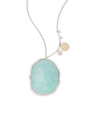Click here for Diamond  Amazonite & 14K White Gold Pendant Neckla... prices