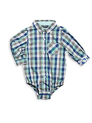 Baby's Checked Long Sleeve Bodysuit