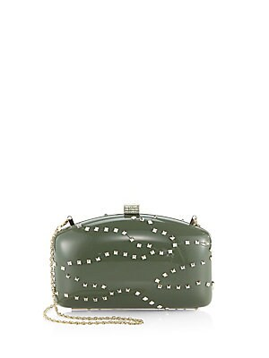 Metal Studs & Crystal Embellished Clutch