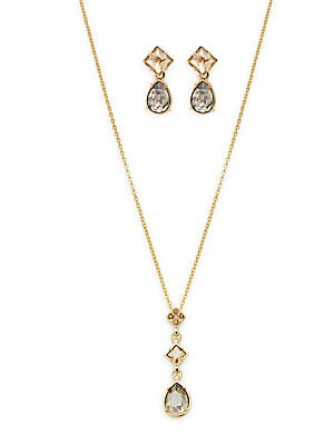 Geometric Crystal Necklace & Earring Set