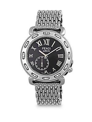 Selleria Diamond Studded Textured Bracelet Watch