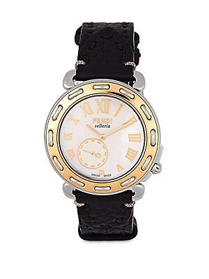Selleria Mother-of-Pearl, Two-Tone Stainless Steel & Leather Strap Watch