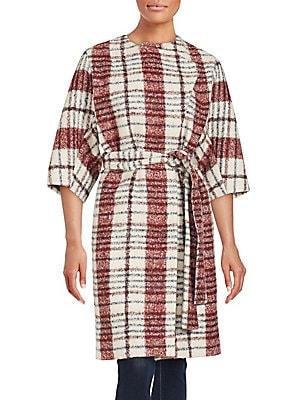 Boucle Plaid Wrap Coat
