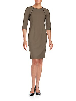 Contrast Piping Wool Blend Sheath Dress