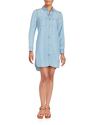 Two-Pocket Denim Shirtdress