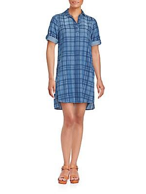 Plaid Denim Shift Dress