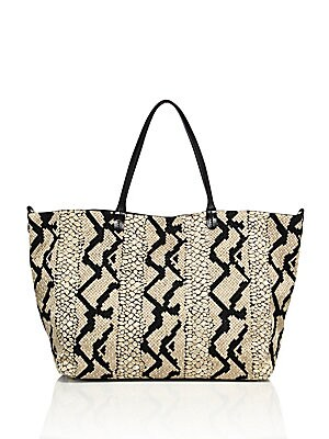 Snake-Print Canvas & Leather Tote