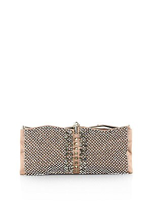 Satin Crystal Studded Clutch