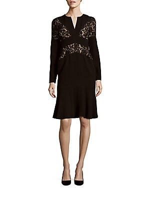 Krizia Lace Trim V-Neck Dress