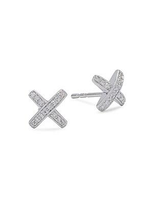 Diamond & 14K White Gold X-Shaped Stud Earrings