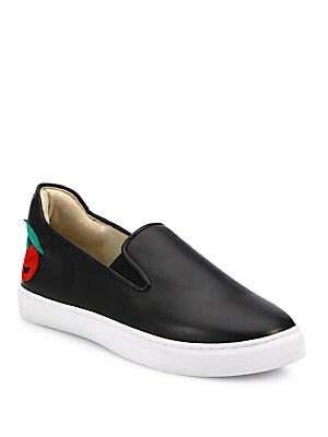 Frida Cherry Appliquè Leather Slip-On Sneakers