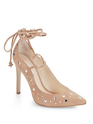 Walska Star-Studded Suede Lace-Up Pumps