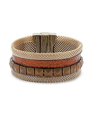 Metallic Bronze Textured Cuff Bracelet
