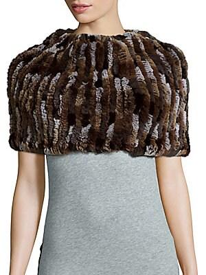 Knit Rabbit Fur Infinity Scarf