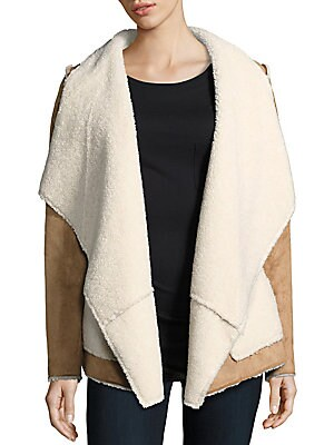 Faux Shearling Open-Front Jacket