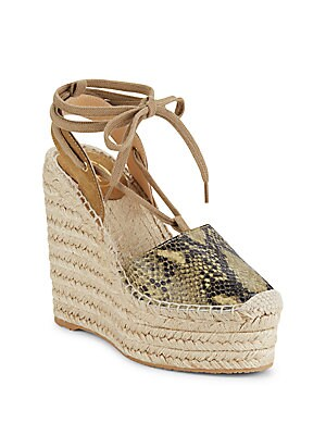 Tracy Bis Leather Lace-Up Wedge Espadrille Sandals