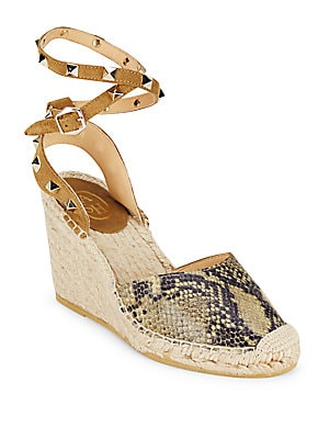 ash female winona round toe leather wedge sandals