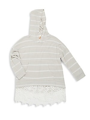 Girl's Striped Lace Hoodie