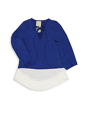 Girl's Colorblock Drop-Tail Hem Top