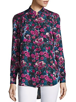 Floral Printed High-Low Hem Shirt