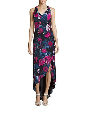 Ruffled Floral Print Hi-Lo Dress