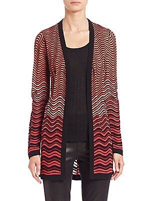 Patterned Open-Front Cardigan